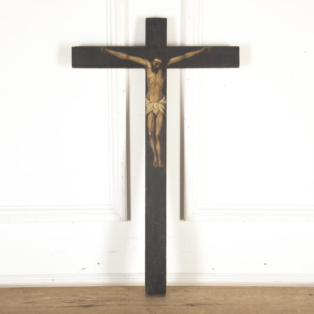 French Polychrome Hand-Painted Crucifix WD8013772