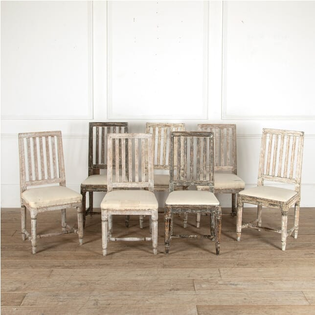 Harlequin Set of 7 Swedish 18th Century Dining Chairs CD4411336