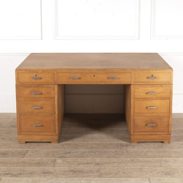 Heal's Modernist Oak Pedestal Desk DB7814033