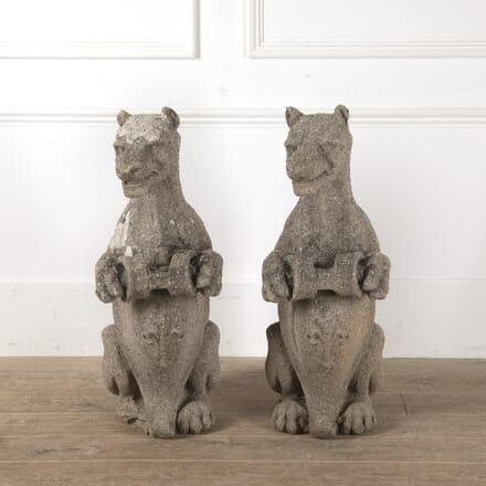 Pair of Heraldic Beast Statues GA0814015