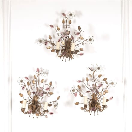 Set of Three Gilt Metal Wall Lights LW4812274