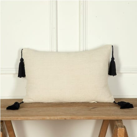 Antique Woven Linen Cushion with Large Tassels RT9012246