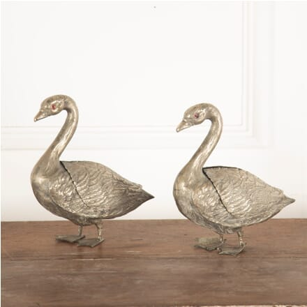Pair of Silvered Metal Swans GA4812278