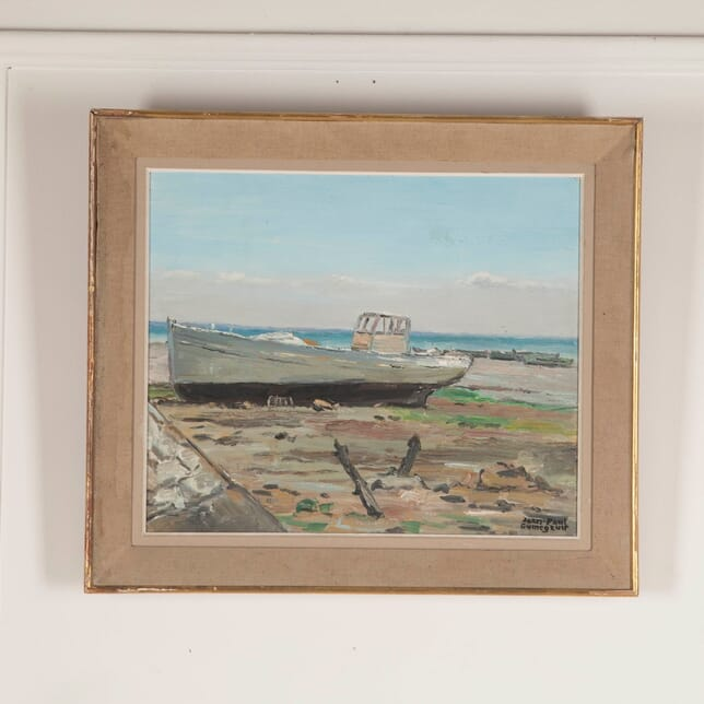 French Painting of Boat on a Beach WD4812727