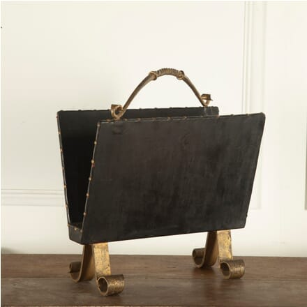 Spanish Leather and Gilt Magazine Rack OF4812285