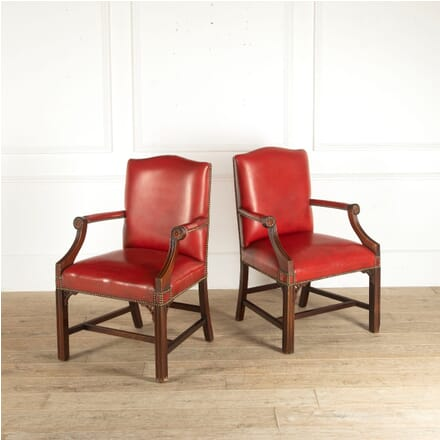 Pair of Leather Gainsborough Style Open Armchairs CH8812427