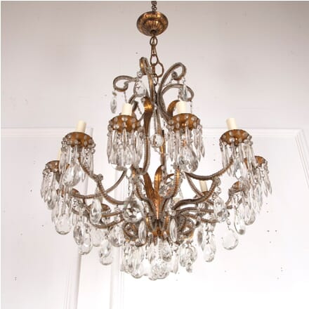 Italian Gilt Metal and Glass Chandelier LC4812847