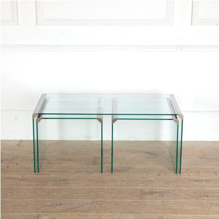 Set of Three Glass and Chrome Tables CT3012786