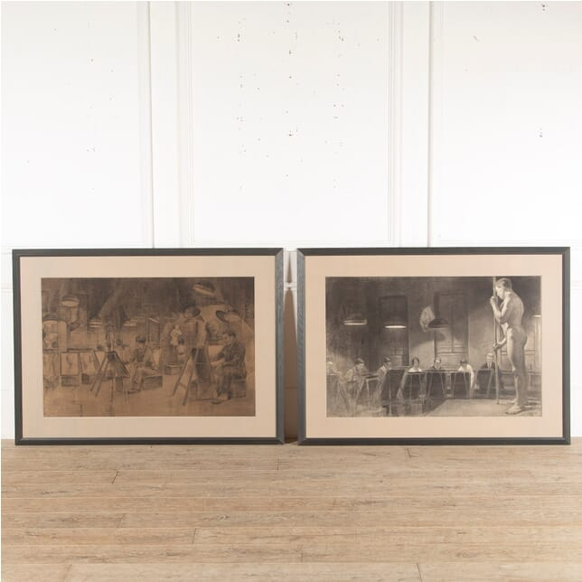 Pair of French Charcoal Art Works WD3513164