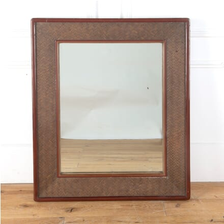 Japanese Red Lacquer and Woven Cane Mirror MI2712206
