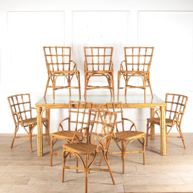 French Bamboo Dining Table and Eight Chairs TD4512718