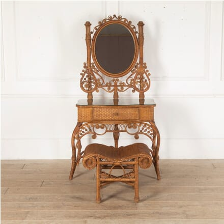 French Bamboo and Cane Dressing Table and Stool BD4512720