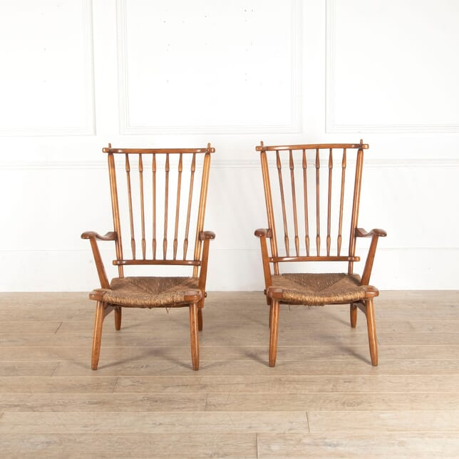 Pair Of Rush Seated Side Chairs CH4312665