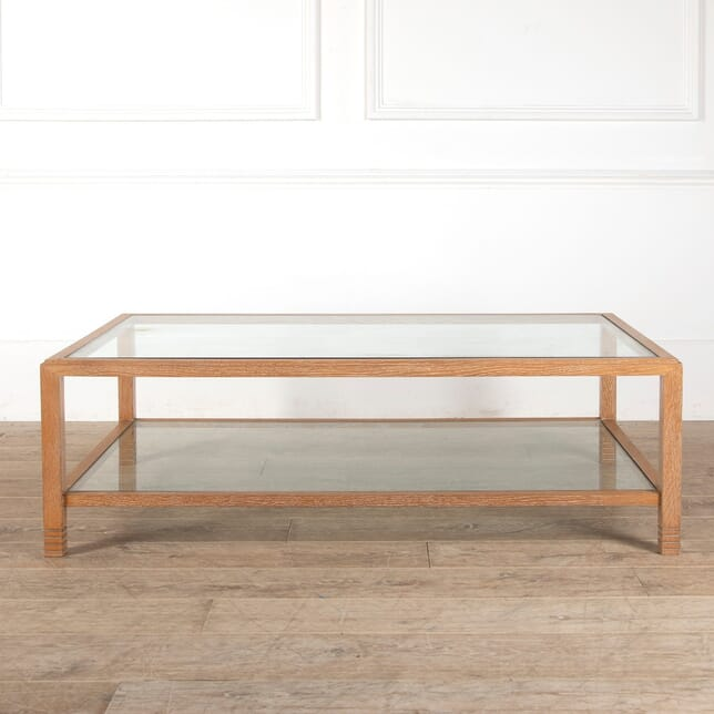 Limed Oak Two Tier Glass Coffee Table CT2912135