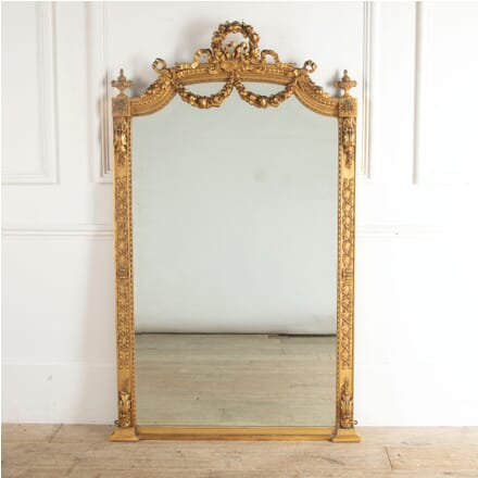 19th Century French Gilt Gesso Tall Mirror with Ornate Decorative Applique MI8812806