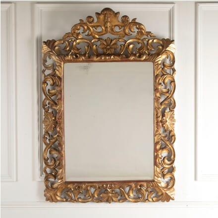 19th Century Carved Italian Florentine Giltwood Bevelled Mirror MI8812391