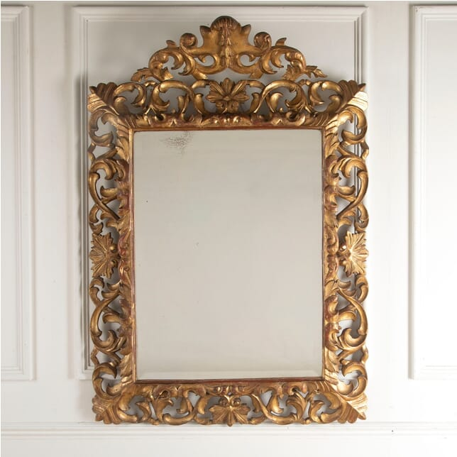 19th Century Carved Italian Florentine Giltwood Bevelled Mirror MI8812391