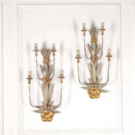 Pair of French 20th Century Toleware Wall Sconces LW2812104
