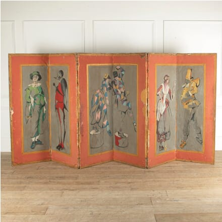 Carnival Theme 18th Century Venetian Painted Folding Screen WD2812137