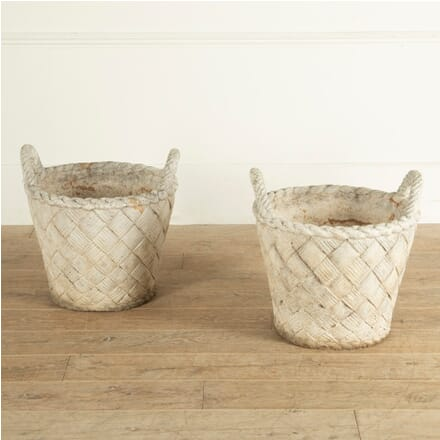 Pair of Handled Basket Weave Stone Pots GA2812195