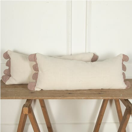 Long Antique Linen Pillow with Scalloped Edges RT4012117