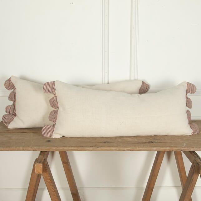 Long Antique Linen Pillow with Scalloped Edges RT4012117