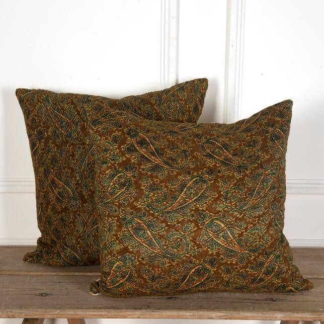 Large Spanish Paisley Silk and Linen Cushions RT4012121