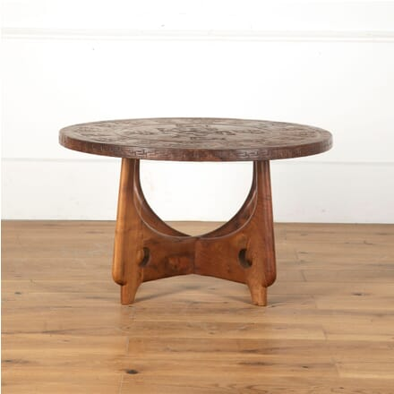1960s Teak and Leather Circular Coffee Table Designed by Angel Pazmino CO5713271