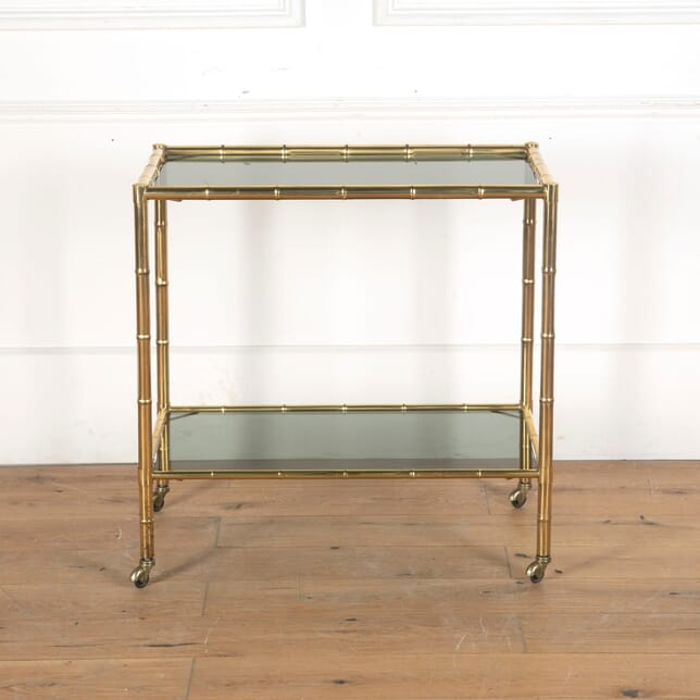 Brass and Smoked Glass Two Tiered Bamboo Trolley DA5313074