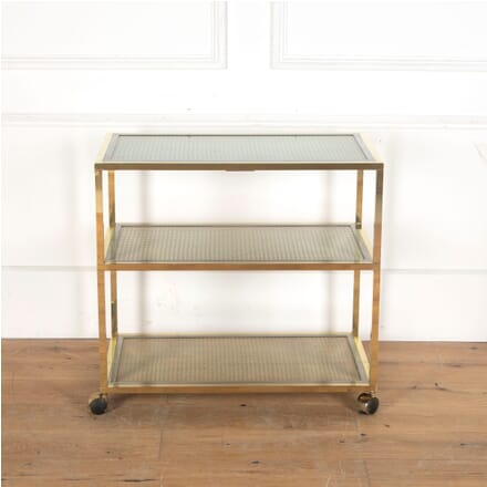 Brass Chrome and Rattan Three Tier Trolley DA5313066