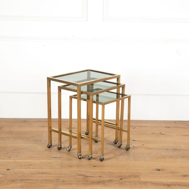 Nest of Three Brass and Glass Side Tables TC5313067