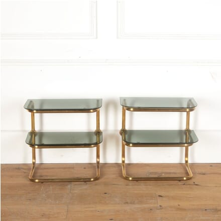 Pair of Two Tiered Brass D Shaped Side/Lamp Tables TC5313073