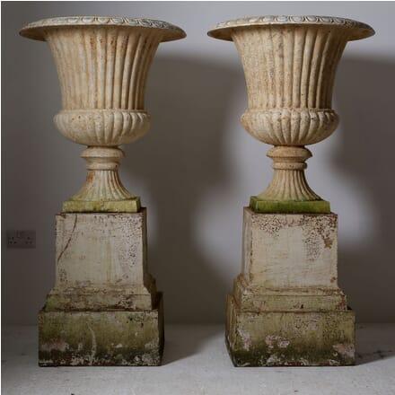 Pair of Large Cast Iron Urns on Plinths GA1210422