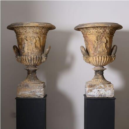 Pair of Coade Stone Style Urns GA1210423