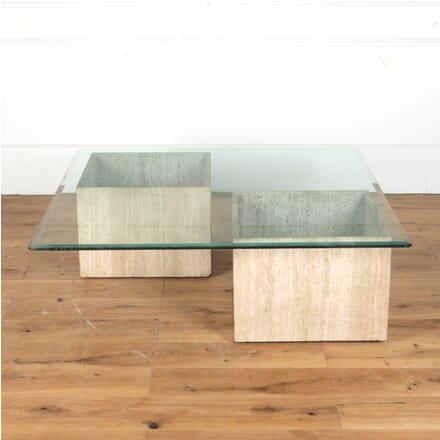 French Mid 20th Century Travertine Base and Glass Coffee Table CT3713265