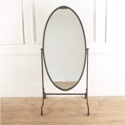Early 20th Century Ribbed Metal Cheval Mirror with Bevelled Glass MI8813076