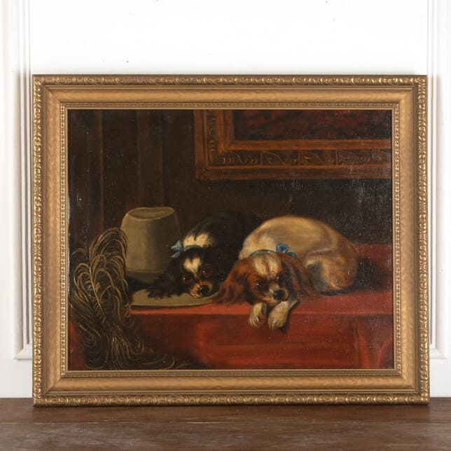 Early 20th Century Oil on Canvas of King Charles Spaniels WD8813085