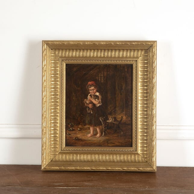 19th Century Oil on Canvas of Young Girl with Kittens WD8813083