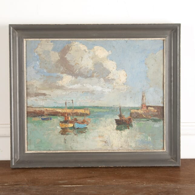 Devon Harbour View by Claude Kitto Oil on Board WD8813084