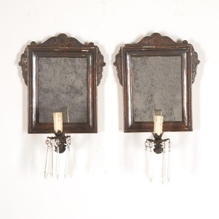 Pair of Italian 18th Century Mirrors with Sconces MI4514286