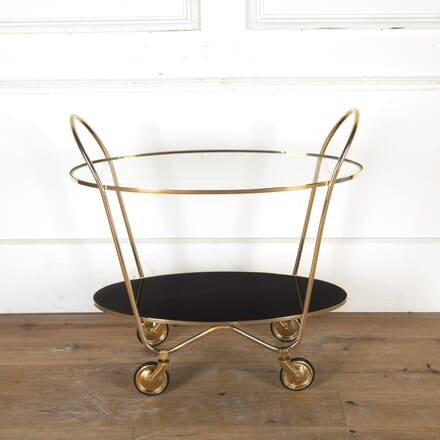 Italian 1950s Brass and Glass Oval Cocktail Trolley TS5813840