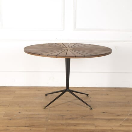 Italian 1960s Wood and Metal Round Table DA7913475