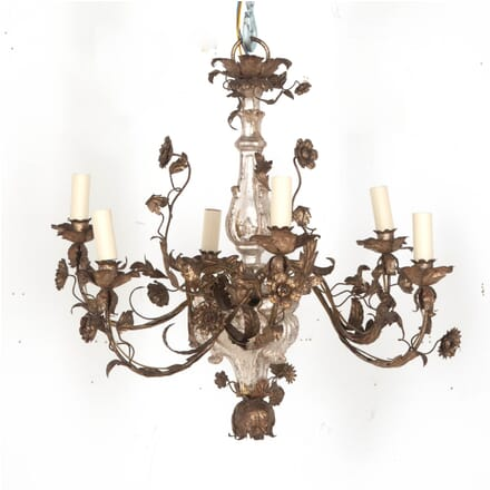 Italian 19th Century Carved Wooden Silver Gilt Chandelier LB6011505
