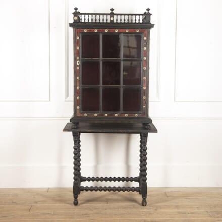 Italian 19th Century Ebony and Tortoiseshell Cabinet on Stand CU4116401