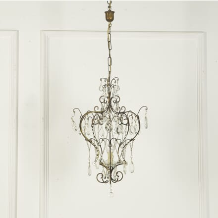 Italian Beaded and Cut Glass Chandelier LC759477