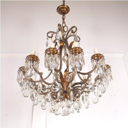 Italian Gilt Metal and Glass Chandelier LC4812847