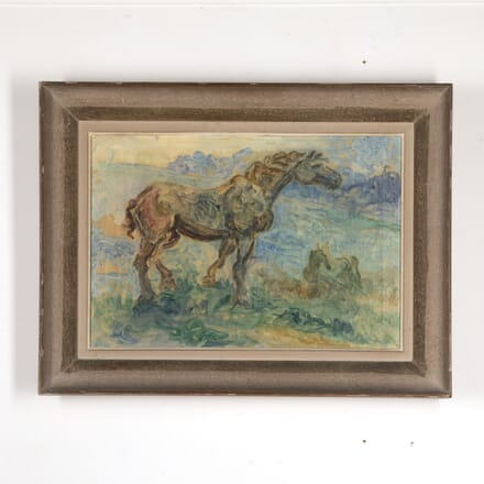 Expressionist Painting of a Grazing Horse WD7816918