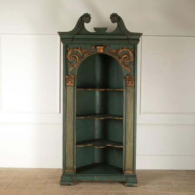 Large 18th Century Painted and Gilded Corner Cupboard BK5211439