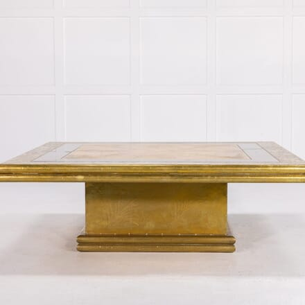 Large 1960s Spanish Etched Brass Coffee Table CT069922