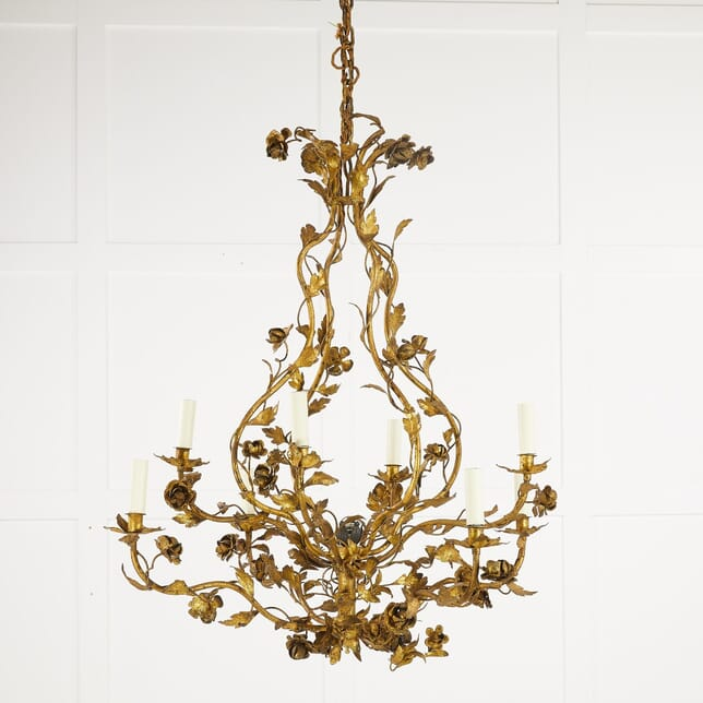 Large 1960s Spanish Gilt Metal Chandelier LC0610193